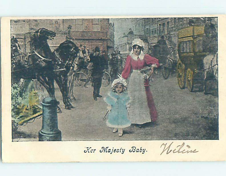Pre-1907 foreign HER MAJESTY BABY - GIRL WALKS WITH MOM PAST THE SHOPS J5082