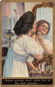 Victorian Comic Pun~Some Women Don't Drink~All Like Their Glasses~Vanity Mirror