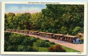 1940s Cedar Point Ohio Postcard THE INLET TRAIL Miniature Railroad Train Linen