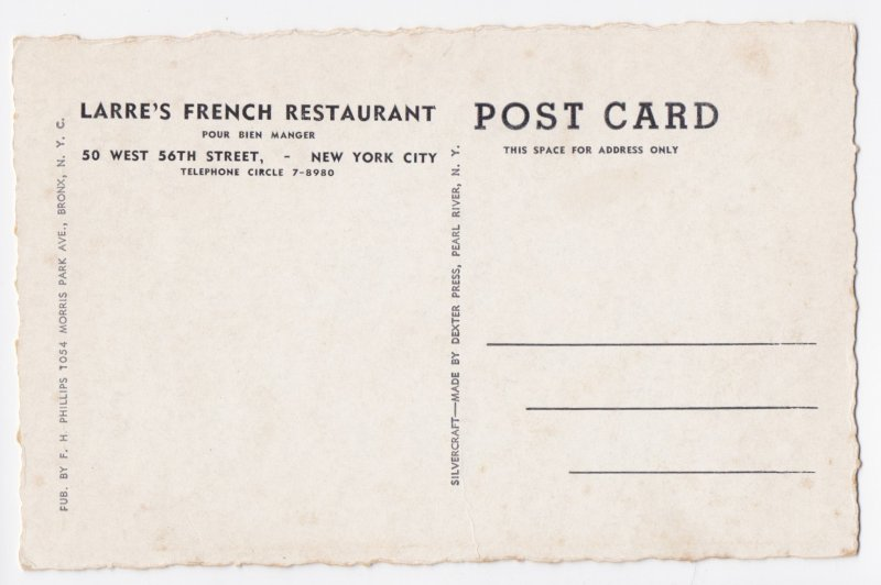 Larre's French Restaurant New York City - Unposted - 50 West 56th Street