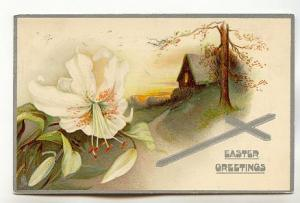 Tuck, Large White Lily, Silver Cross, Artistic Easter Postcards
