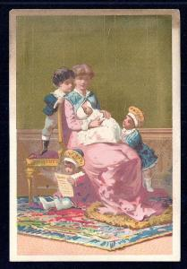 VICTORIAN TRADE CARD Mother w/three Kids & Baby