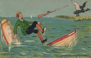 DONADINI ;  Duck Hunter in sinking Boat , 1908
