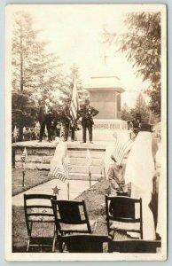 Real Photo Postcard~Veterans at Civil War Soldiers Monument~Ceremony~c1915 RPPC