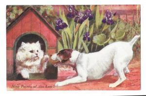 C.T. Howard Cat in Dog House Artist Signed Nine Points of Law Vintage Postcard