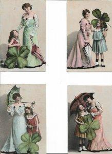 Romantic Four-leaf clover  Postcard Lot of 4  01.16