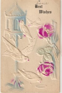 Doves and pink roses Old vintage American Greetings PC. Embossed