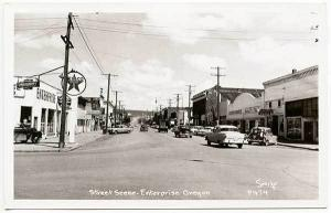 Enterprise OR Texaco Gas Station Vista Theatre Old Cars RPPC Real Photo Postcard