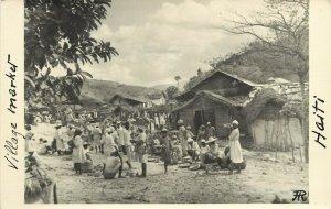 RPPC Postcard; Haiti Village Street Scene, Market c1930s Unposted