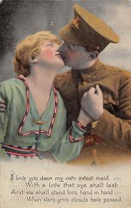 Soldier Romance Couple: I love you, dear, my own sweet maid...