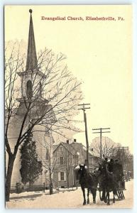 Postcard PA Elizabethville Pre 1920s Evangelical Church Horse Drawn Sleigh R43