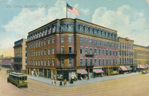 The Savoy Hotel, Rochester, New York - Trolley and Pedestirans - pm 1910 - DB