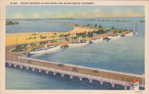 Florida Miami Beach Yachts Moored Along Miami and Miami Beach Causeway Curteich
