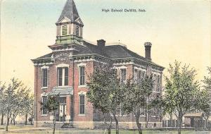 DeWitt NE High School in 1910 Postcard