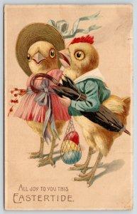 Easter Fantasy~Dressed Hen & Lil Rooster Chicks~Colored Egg Sack~Umbrella~Emboss