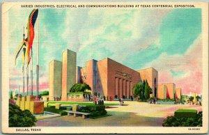 1936 TEXAS CENTENNIAL EXPOSITION Dallas Postcard Varied Industries Bldg - Linen