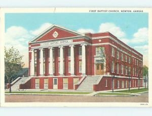 Unused W-Border CHURCH SCENE Newton Kansas KS L4897