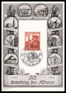 3rd Reich Germany Memel Hitler Milestones 50th Birthday Propaganda Card 90577