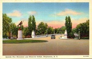 New York Binghamton Spanish War Monument and Memorial Bridge Curteich