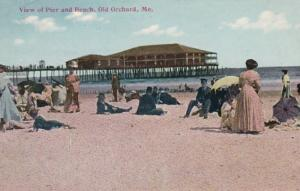 Maine Old Orchard View Of Pier and Beach 1911
