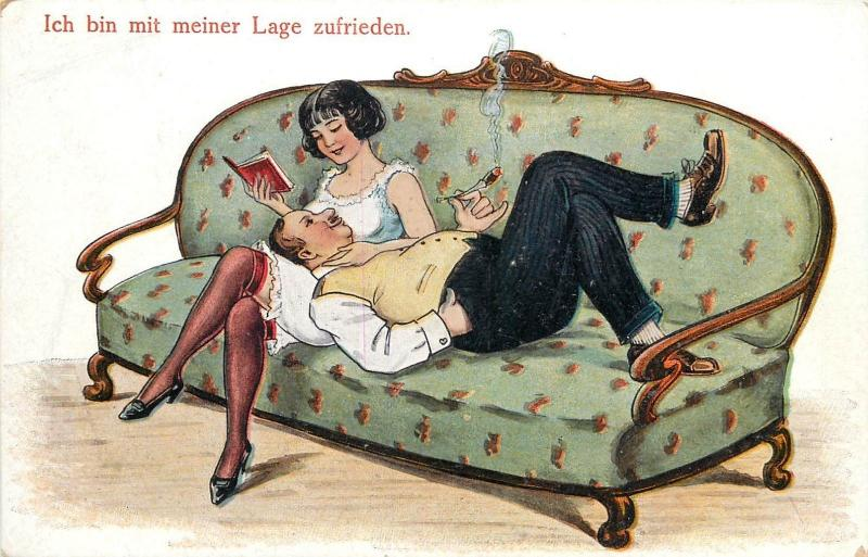 Couple I`m satisfied with my situation sexy wife book husband cigar caricatures