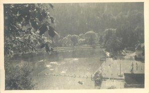 Tusnad lake picturesque aspect Romania 1940s vintage Postcard