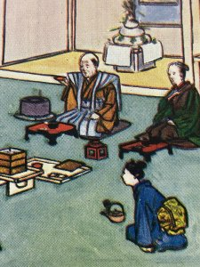 C1920 Japanese Family Cartoon Postcard At the New Years Festival