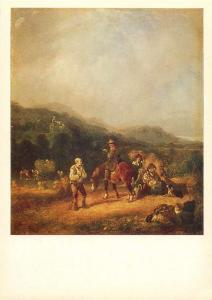 English painting art postcard William Shayer the Elder The Harvest Field