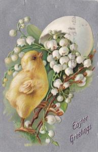 Tucks Easter Greetings With Young Chick 1909