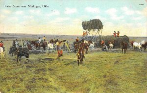 Farm Scene near Muskogee, Oklahoma Farming 1911 Vintage Postcard