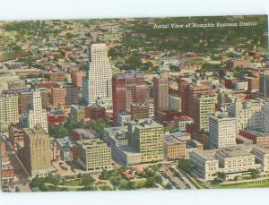 Unused Linen AERIAL VIEW OF TOWN Memphis Tennessee TN n3604-22