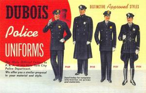 New York NY Curt Teich Dubois Police Uniforms Rare Advertising Postcard