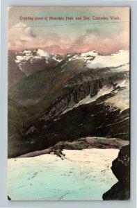 Scenic View Snow Covered Cascade Mountain Peaks, WA-Washington, Vintage Postcard