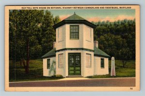 Cumberland MD-Maryland, Old Toll Gate House, National Highway, Linen Postcard
