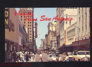 SAN ANTONIO TEXAS DOWNTOWN STREET SCENE 1960's CARS VINTAGE POSTCARD TRUCK