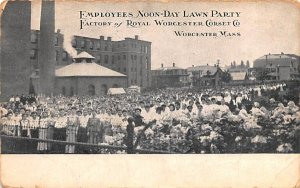 Employees Noon-Day Lawn Party Worcester, Massachusetts Postcard