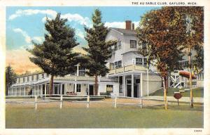 Gaylord Michigan Au Sable Club Exterior Yard Antique Postcard K12142