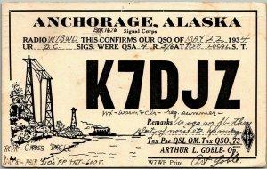 1934 Anchorage, Alaska Postcard QSL Ham Radio Card K7DJZ Arthur L. Goble