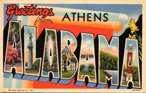 Alabama Greetings From Athens Large Letter Linen 1954 Curteich
