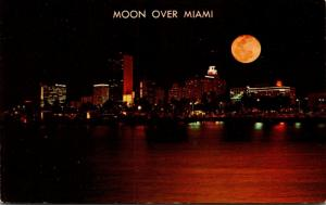 Florida Miami Skyline At Night Looking Across Biscayne Bay