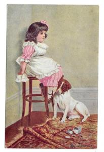In Disgrace Little Girl with Dog Sitting in Corner Postcard