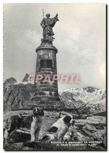 Modern Postcard Statue Bernardo da Mentone Dogs St Bernard
