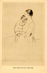 Dry Point: Baby's Bath.  Artist: Mary Cassatt