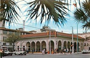St Petersburg FL~National Bank Sign~Open Air Post Office~1960s~Postcard