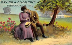 Having a Good Time at Indianapolis Indiana~Couple Under Tree~1910 Postcard