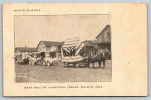 Walker Iowa~Snapshot Pstcrd~Industrial Parade~Times Newspaper Float Leads~c1906