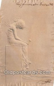 MM Vienne Artist Raphael Kirchner Writing on back light writing on front and ...