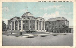 Mansfield Louisiana First Baptist Church Street View Antique Postcard K49075