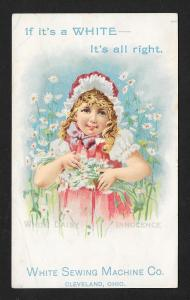 VICTORIAN TRADE CARD White Sewing Machine Girl w/Flowers