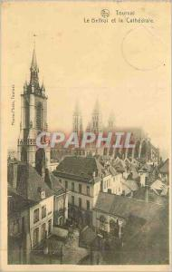 Old Postcard Tournai The Belfry and The Cathedral